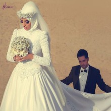 Ball Gown High Neck Long Sleeve Muslim Wedding Dress With Appliques Arab 011(China (Mainland))