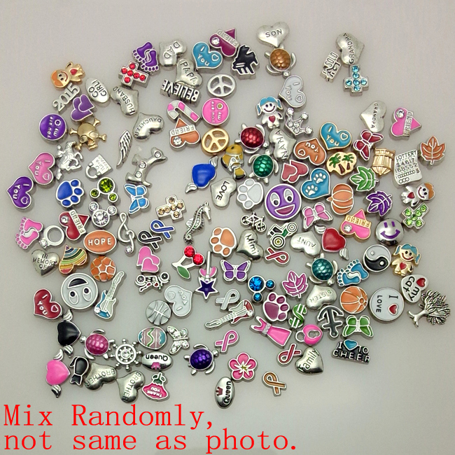 100pcs/lot 2015 New Mix design assorted floating locket charms for living glass locket(China (Mainland))
