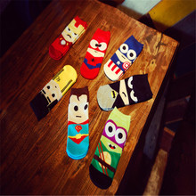 7 pairs Natural Color Cotton Character Captain America& spiderman&Iron Man&Batman&Hulk&Supermen mens' socks at all seasons #1511