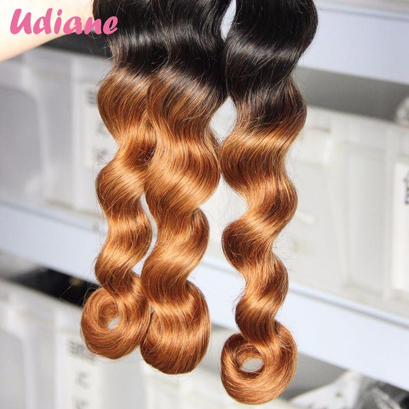 Brazilian Ombre Hair With Closure Loose Wave 3PCS Ombre Human Hair Weave Bundle With 1PCS 3 Part Virgin Lace Closure 2LC01XT