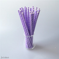 Free Shipping 25 pcs/lot Polka Dot Purple Paper Drinking Straws Creative Drinking Tubes Party Supplies Wedding