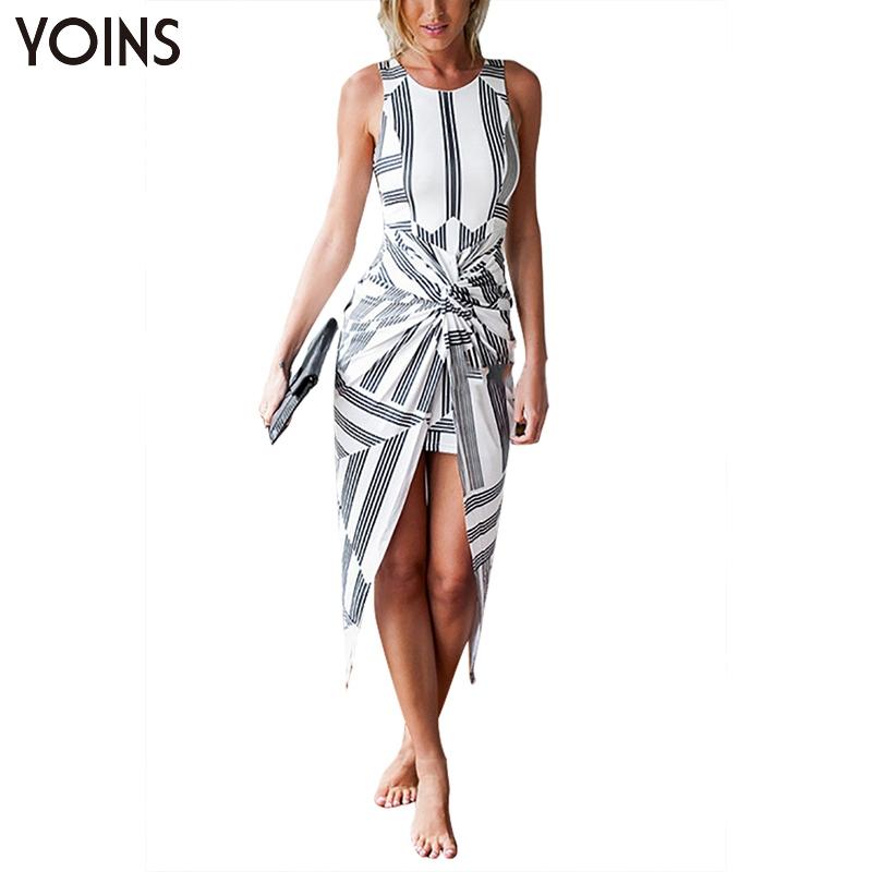 YOINS New 2016 Women Fashion Vintage Knot Twist Stripe Pattern Irregular Hem Midi Dress Casual O-neck Sleeveless Bodycon Dress(China (Mainland))