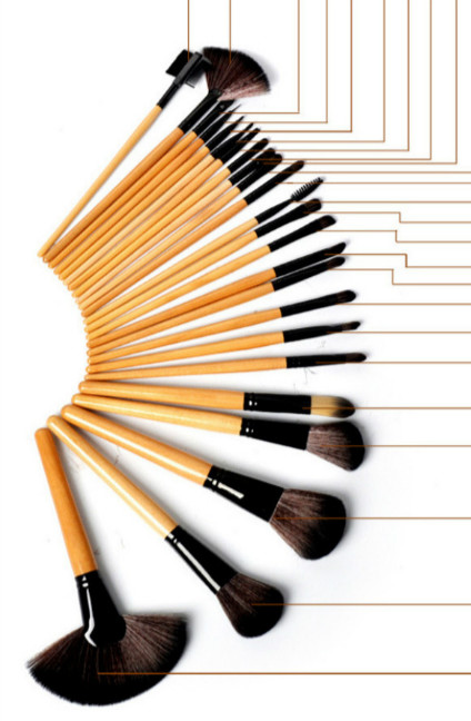 24Pcs/Set Log Lubricious Wood Handle Makeup Brush Sets ... Lubricious