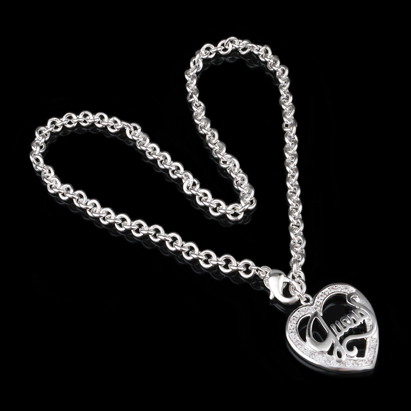 Free Shipping 925 Sterling Silver Jewelry Statement Heart Pendant Letter Necklace Sale(China (Mainland))