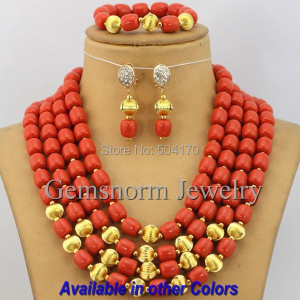 2016 Latest African Wedding Coral Beads Jewelry Set African Costume Jewelry Set Christmas 18K Gold Plated Free Shipping CNR168(China (Mainland))