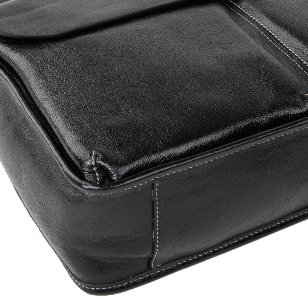Brand MILRY 100% Genuine Leather men Briefcase Business shoulder messenger bag laptop bag for men black CP0009-1