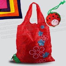 ladybug bag promotion! 10pcs/lot folding foldable shopping bag ,many colors mixed beetle insect handle Bag + free shipping(China (Mainland))
