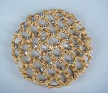 50PCS Bun Cover Snood Hair Net Ballet Dance Skating Crochet Crystal SP-830