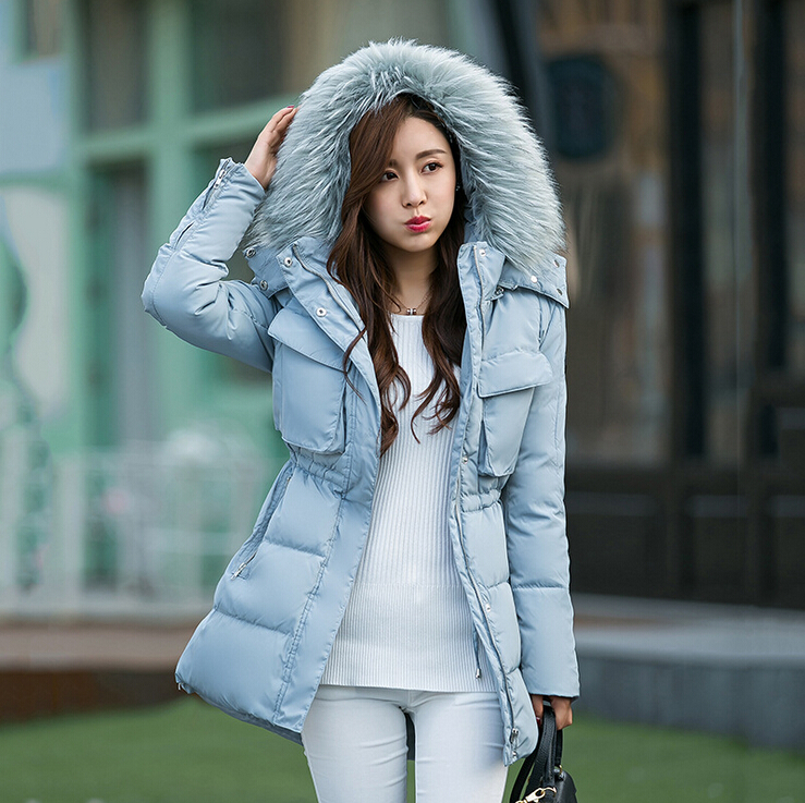 2015new Winter Women Fashion Long Thick Warm Cotton Jacket Plus Size Fur Collar Slim Coat Overcoat Parka