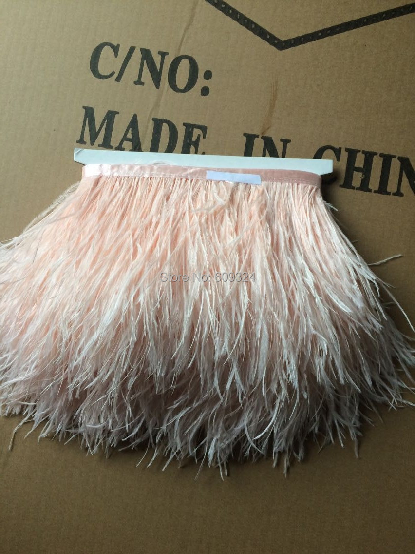 Free Shipping 10 yards Peachy pink Ostrich Feather trim 5-6inch in width 1 ply for costume sewing decor feather trim(China (Mainland))