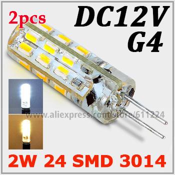 G4 2W 24pcs LEDs SMD 3014 Led Bulbs Chandelier Crystal Lights DC 12V Warm White LED Corn Bulb 360 degree led spotlight Bulb(China (Mainland))
