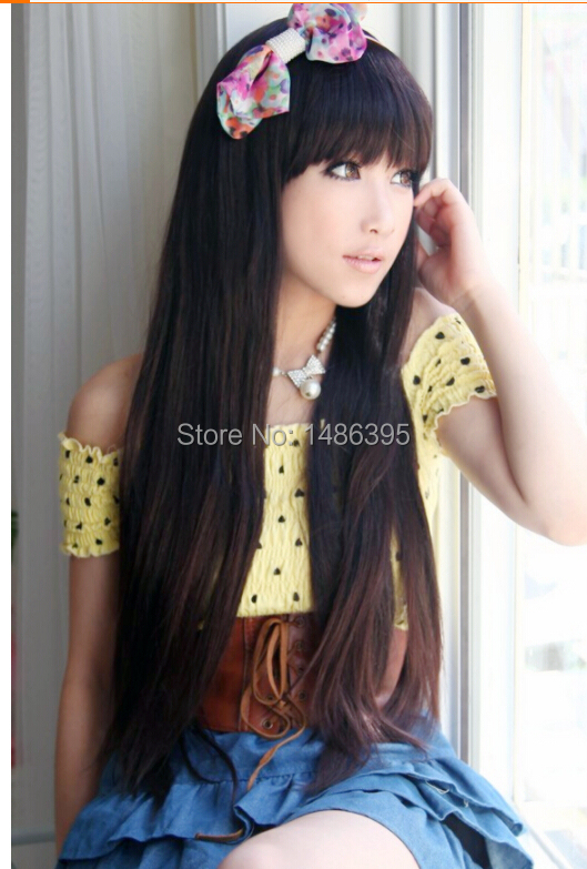 cute 2014 new fashion women female girls long straight synthetic hair wigs black brown sweet lovely lady wig - Lucky Dog's House store