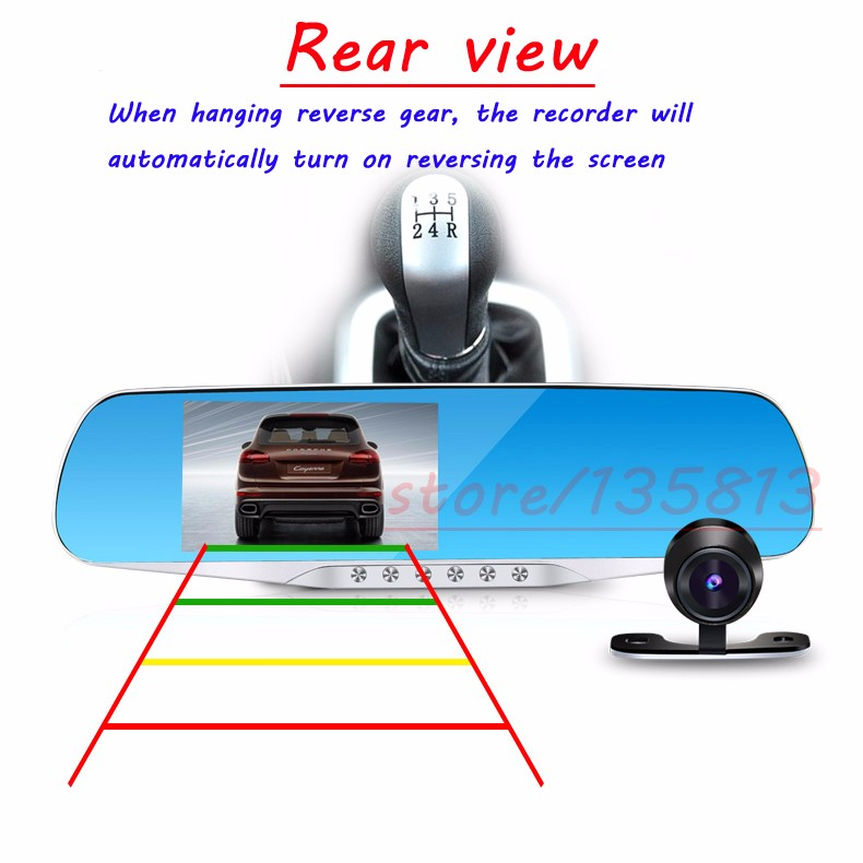 5 LED Night Vision Car Dvr Car Driving Recorder 1080p hd Dual Lens Rear View Mirror
