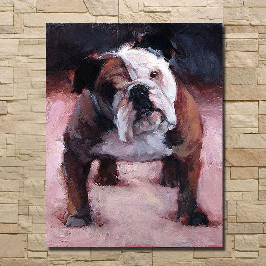 Peint à La main Bulldog Anglais Peinture À Lhuile Art Mur Photos ...