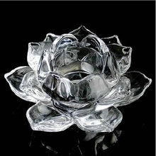 Crystal Glass Lotus Shape Crystal Candle Holders Home Decor Candlesticks Birthday Gift ideas(China (Mainland))