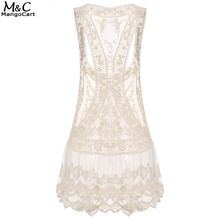 Buy FANALA Summer Dress Sexy V-neck Women Beach Dresses 2017 Casual Sleeveless Hollow Beige Spaghetti Strap Mini Lace Dress Swimwear for $6.47 in AliExpress store