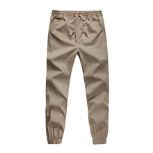 Plus Size Khaki Joggers Mens Khaki Pants Jogging Pants Men's Cuffed Joggers Pants Cotton Long Trousers European New Black Jogger