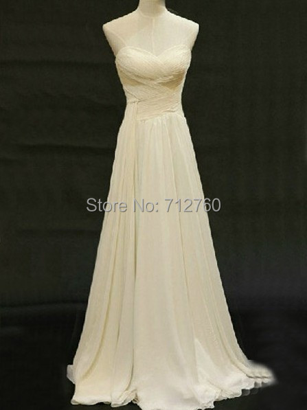Strapless long ivory chiffon prom dresses bridesmaid for Long wedding dresses under 100