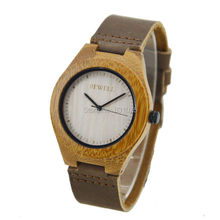 Hot Sale Top Gift Item Bamboo Watch with Calf Genuine Leather Band Luxury Wristwatch Bamboo Watches