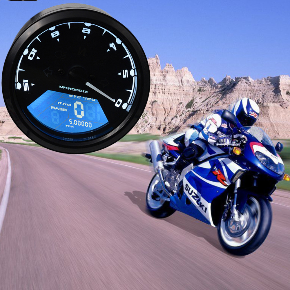 2016 12000 RMP kmh/mph Universal LCD Digital Odometer Speedometer Tachometer Gear indicator Motorcycle Scooter Golf Carts ATV<br><br>Aliexpress