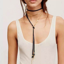 Buy Best lady Fashion Jewelry Layer Collar Choker Necklace Metal Pendant Leather Cheap Chokers Long Tassel Statement Collier 3895 for $2.71 in AliExpress store