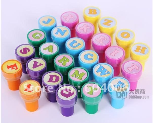 Hot sell  Children's educational toys leaning English Letters cartoon stamp, no ink pad, letter seals 26pcs/lot