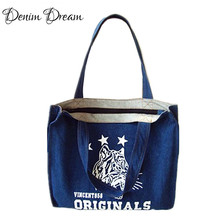 Jeans Bag Blue Denim Handbags Stars Printing Tiger Animal Bag Denim Bags Women Bolsos Vaqueros Feminina Sac A Main Femme De D006
