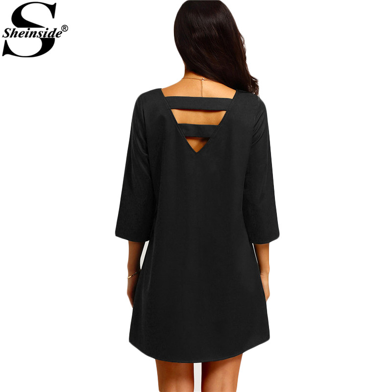 Sheinside Ladies Sexy Summer Style 2016 New Arrival Hollow Women Straight Dresses Crew Neck Strappy Back Shift Mini Dress(China (Mainland))