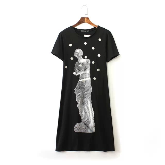 2015 new O neck short sleeve sequins fashion figure print women's summer casual dress - Chic Classic Store store