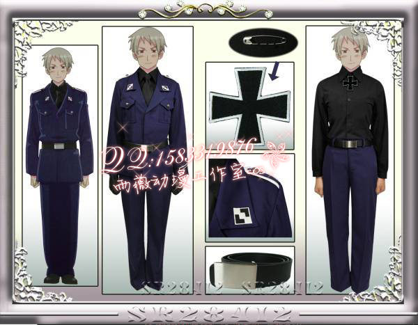 New 2015 APH Axis Powers Hetalia Prussia Gilbert Cosplay Costume Army Uniform  Custom Made For Adult Or Children Free shipping