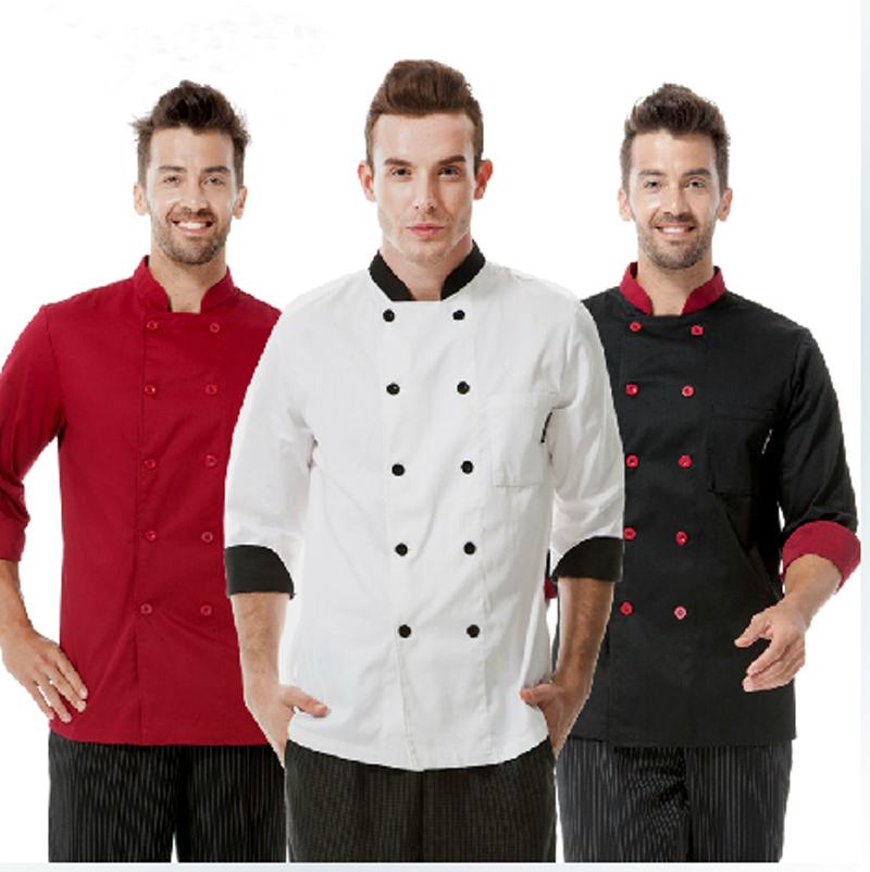 Unisex Sushi Chef Uniform Red, White, Black. 10 Bottons Stand Collar long ,Short Sleeve. Chaqueta de Coinero S-3XL(China (Mainland))