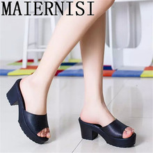 High Heels Sandals Slippers Solid Non-Slip Thick Soled Female Platform Wedge Women Slippers Summer 2016 Beach Slippers