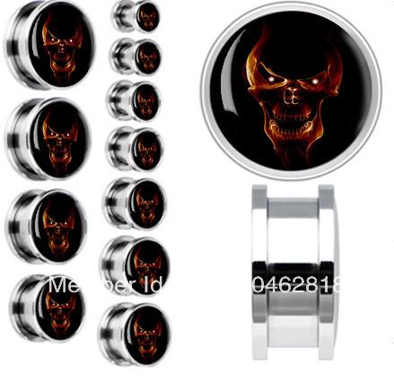 free shipping skeleton shaped ear plugs fashion body piercing jewelery flesh tunnel ear plug mix size 6mm-20mm