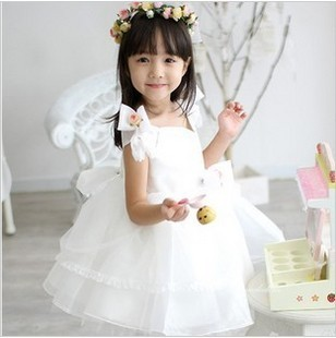 2015 new girl's princess wedding dress female Children's one-piece lace/bowknot baby girl year party ball flower - Super-Mom store