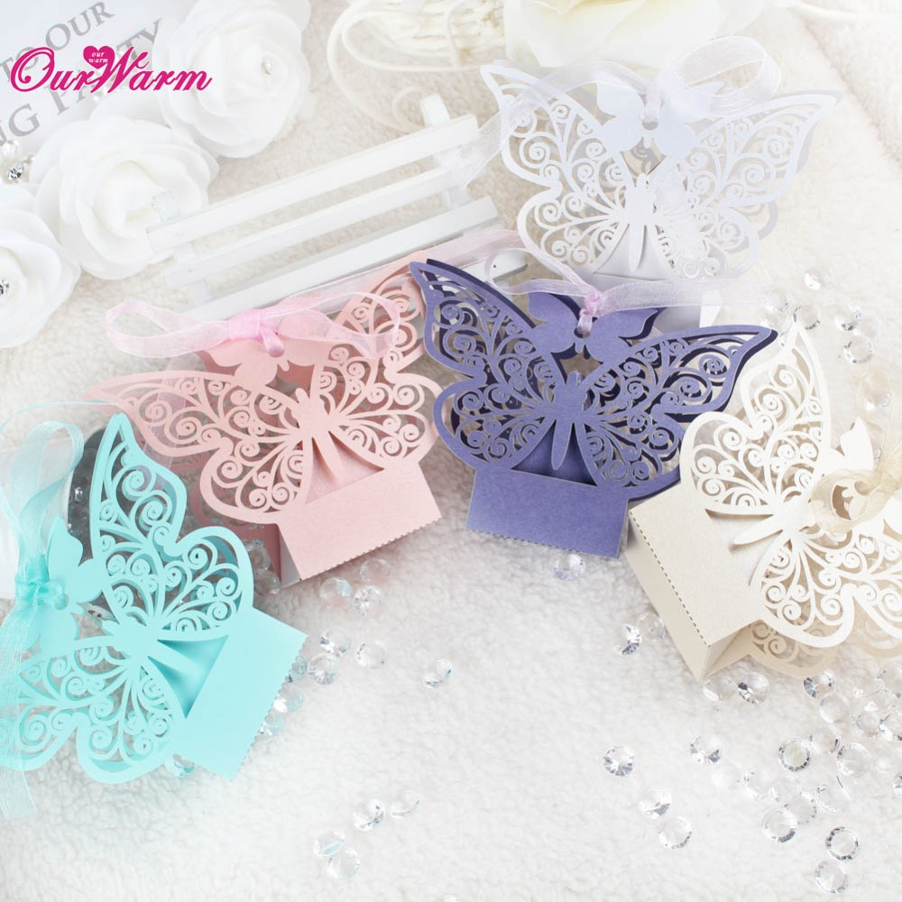 100pcs/lot Hollow Wedding Candy Box Butterfly Wedding Favors and Gifts Box Wedding Box Gift with Ribbon Wedding Favor Bags(China (Mainland))