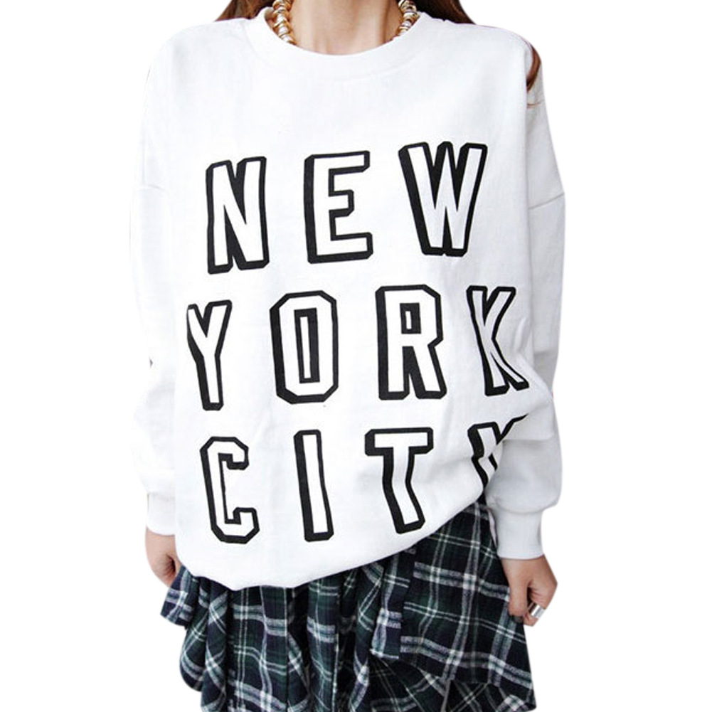 2015 New Foreign Trade Tuonnies Korean Loose Casual Letters Printed Long-sleeved Sweater Female Head Tide Wholesale(China (Mainland))