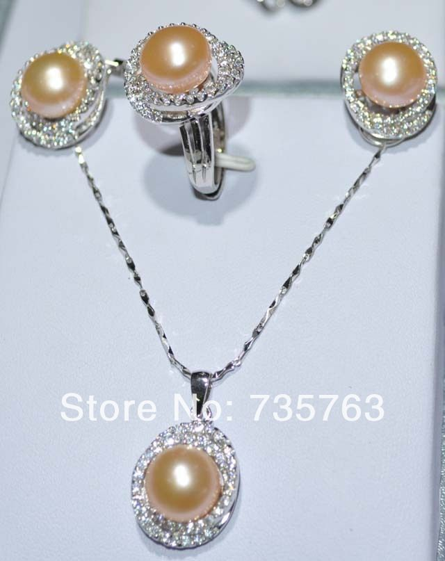 xiuli 00275 11.5-12mm white or pink Freshwater pearl Sets necklace earring ring<br><br>Aliexpress