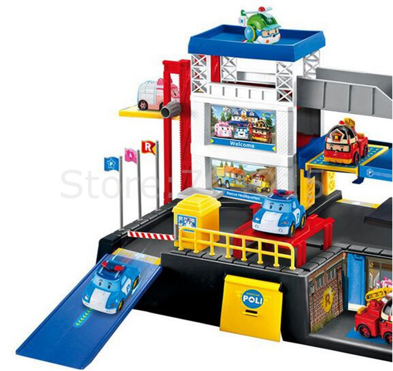 New POLI Cartoon Parking Lot Piastic Working Deformation Police Automobile with four Vehicles Children Reward Toy