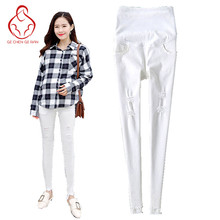 Buy 2017 spring new jeans pregnant women white thin section pregnant women pants stretch belly maternity pregnant clothes for $16.49 in AliExpress store