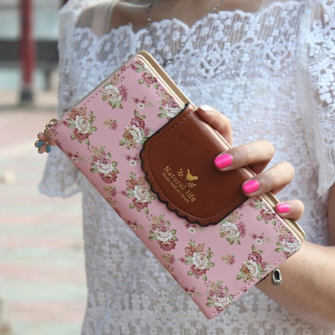 2015 New Fashion Women Wallet Hit Color 3Fold Small Flowers Printing 6Colors PU Leather Wallet  Long Ladies Clutch Coin Purse<br><br>Aliexpress