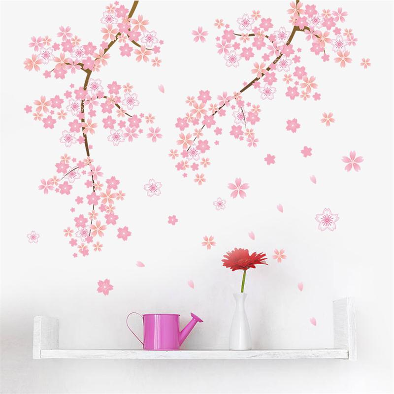 Pink flower blossom wall stickers wallpapers 045a home for Red flower wallpaper living room