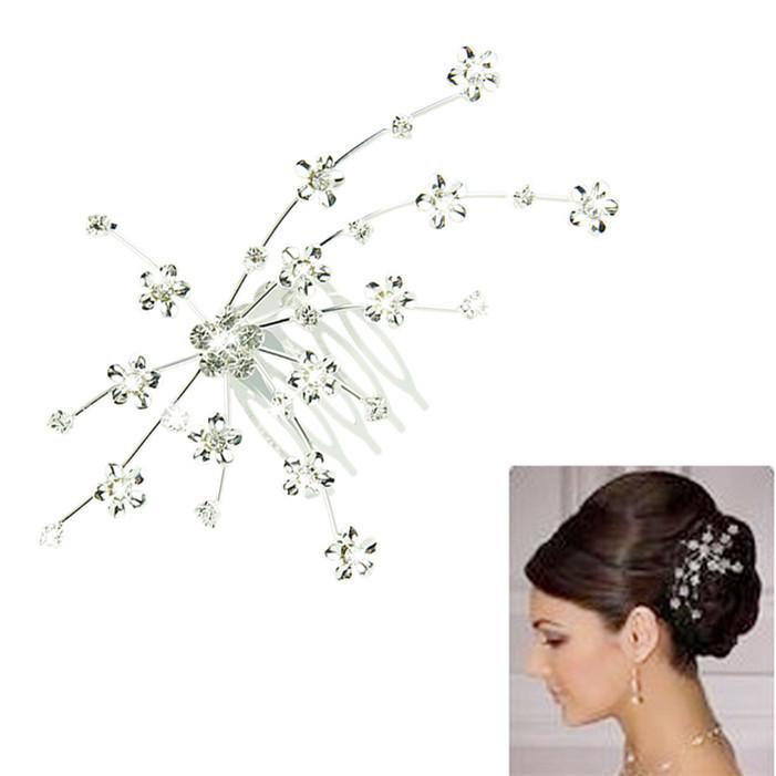 Stylish 2015 fashion women Silver Personality Gem Crystal Wedding Bridal Jewelry Princess Hair Jewelry Acceessory