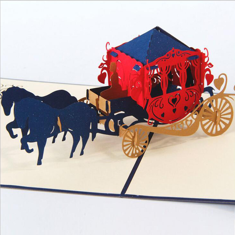 1Pcs Fashion Card Greeting Creative 3d Pop Up Greeting Cards Handmade Romantic 3d Wedding Carriage Card Valentine Day Post Card(China (Mainland))