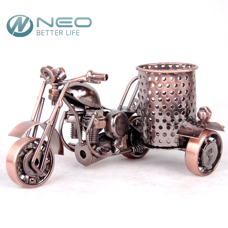 NEO Metal Crafts Motorcycle Model Retro Motorbike Model Pencil Cup Antique Motor Bicycle Pen Container Holder Home Office Decor(China (Mainland))