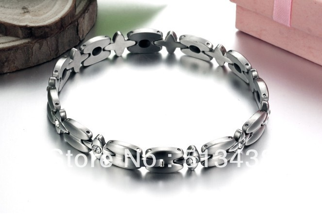 N3336 Top Quality Jewelry stainless steel Women Magnetic stone bracelet Flower crystal Jewelry(China (Mainland))