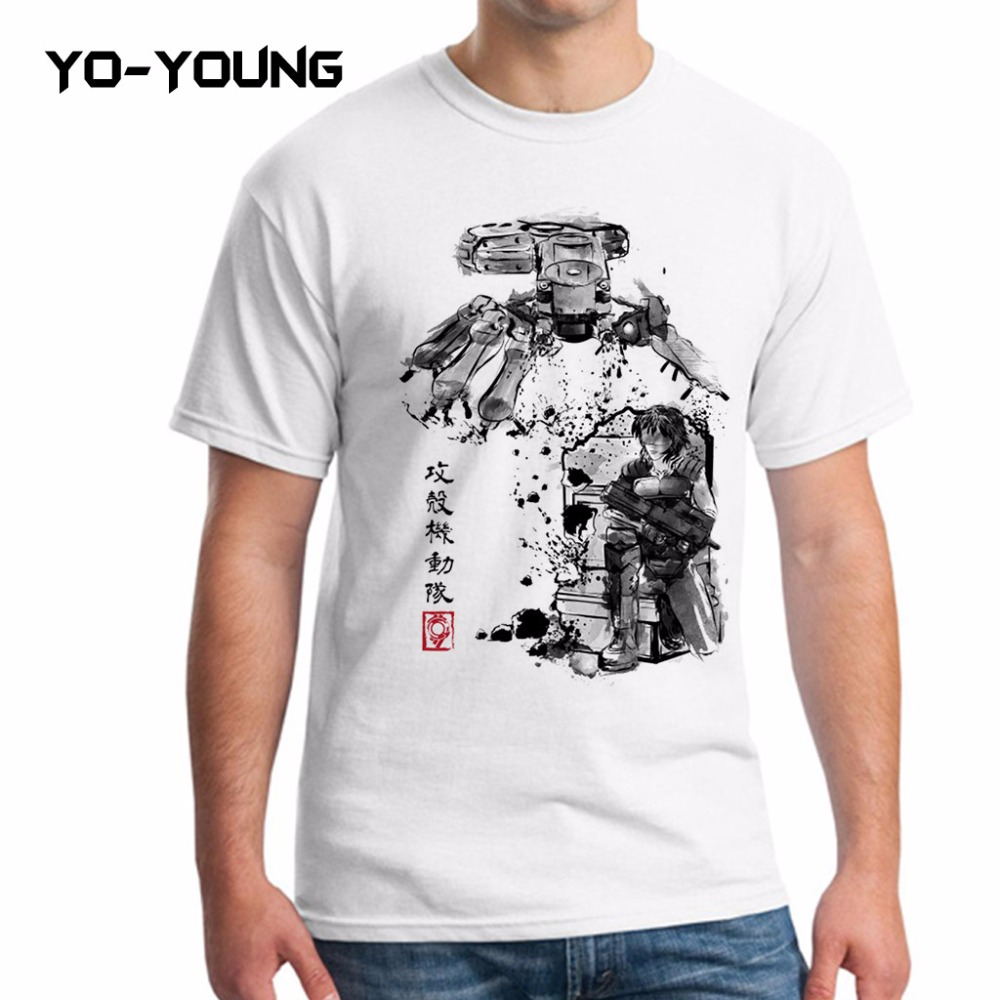 Yo-Young New Men T Shirts Ghost Shell Major vs Tank Digital Printed 100% 180gsm Combed Cotton T-shirts Customized