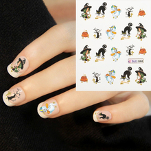 4sheet/set Green hair witch,dolphin,water bottle Halloween design Water decal Nail Sticker design nail art decorations stickers(China (Mainland))