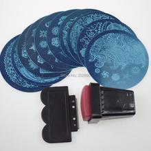 1sets Stamping Kits 10pcs Stamp+Stamper+Scraper Nail Art Round Stainless Steel Plates DIY Polish Templates 75 designs NC096(China (Mainland))