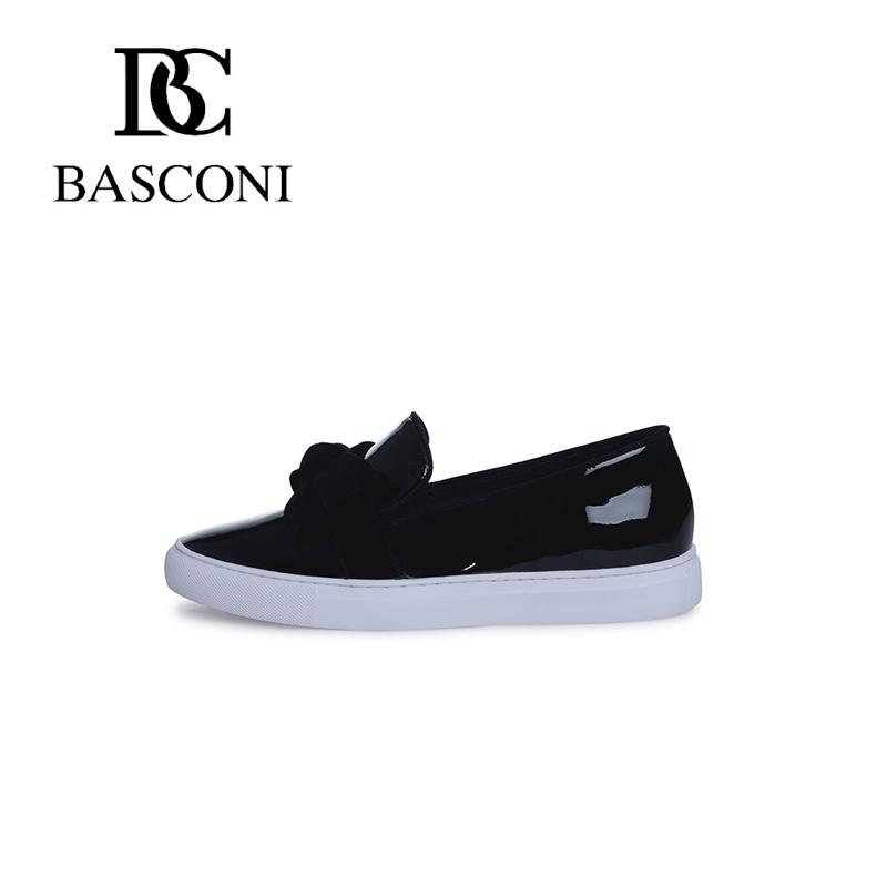 BASCONI Genuine patent leather black, round nose, slipony<br><br>Aliexpress