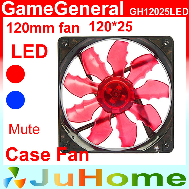 Case fan, Red/Blue LED, 120mm, 12cm Slient, power supply cooling, computer GameGeneral GH12025LED - CloudFan Store store